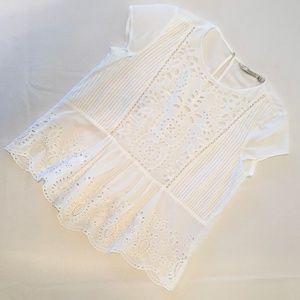 ZARA BOHO Ruffle-Hem Peplum Top White Size Medium